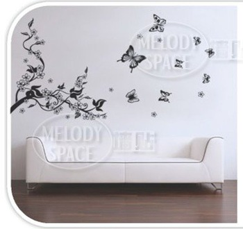 Free shipping New fashion Home decor Butterfly pattern Bedroom parlour background Wall sticker #H0058