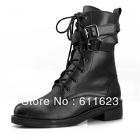 2013 Platform genuine leather martin boots for women,motorcycle medium-leg boots lacing cowhide boots,female fashion cool boots