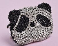 2012 Fashion ladies' change purse, cute panda pattern wallet,Crystal diamond evening bag for Christmas gifts free shipping