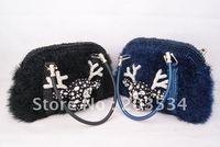 2012 Fashion ladies' handbag, Glitter Deer head pattern wallet,Crystal diamond shoulder bags for Christmas gifts free shipping