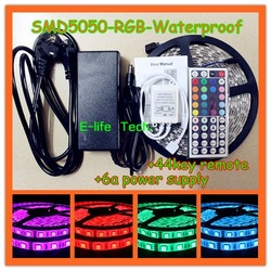 Free Shipping! 5m/piece RGB SMD5050 Flexible Waterproof Led Strip Light +44Key Remote +6A Power Supply for Holiday Decoration(China (Mainland))