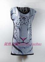 free shipping Fashion white full paillette tiger print plus size women short-sleeve loose long design t-shirt cotton t-shirts