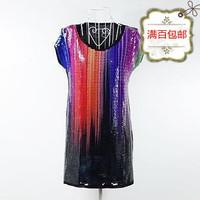 free shipping Women's full paillette o-neck long design short-sleeve plus size loose black t-shirt cotton t-shirts