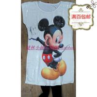 free shipping Women's pvc paillette MICKEY print short-sleeve plus size white slim long design slim hip t-shirt dress