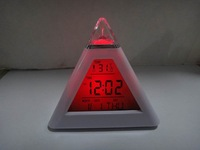 Hot sale !!! wholesale LED 7 color changing Triangle Pyramid music Alarm Clock free shipping  LED  Clock