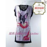 free shipping Women's whole shoes print short-sleeve plus size long design t-shirt cotton t-shirts