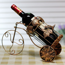 Free shipping! Fashion wine rack wrought iron wine bottle holder stand, bronze color, bike shape(China (Mainland))