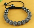 UK/US 11*10MM Transparent gray CZ Crystal disco balls Shamballa Bracelets SL925