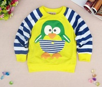 2013 sale of Children&#39;s clothing Kids clothes T-shirts penuins Cartoon boys girls tops Blouses Long sleeve