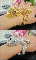 (Min order $10,Mix Order) FABULOUS SILVER/GOLD CHINESE FLYING DRAGON BANGLE BRACELET CRYSTAL STONES