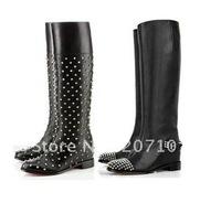 Free shipping Rivets Ladies Fashion Brand Black Genuine Leather Knee Boots