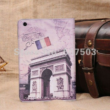 Famous Building Style Smart Cover with Stand  PU leather Case For Apple iPad Mini 2 1 Tablet PC Protective Accessories