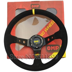 Free Shipping: OMP Suede Leather Racing Car Steering Wheel With Black Stitch(China (Mainland))