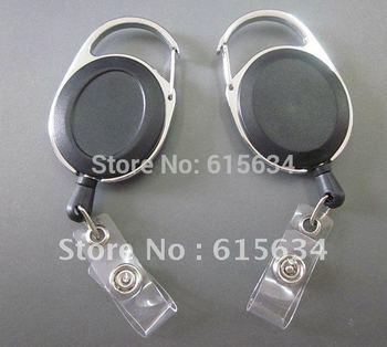 Free Shipping New 20 Pcs Black Badge Reel ID Badge Retractable Reel Lanyard Belt Clip Plastic Strap