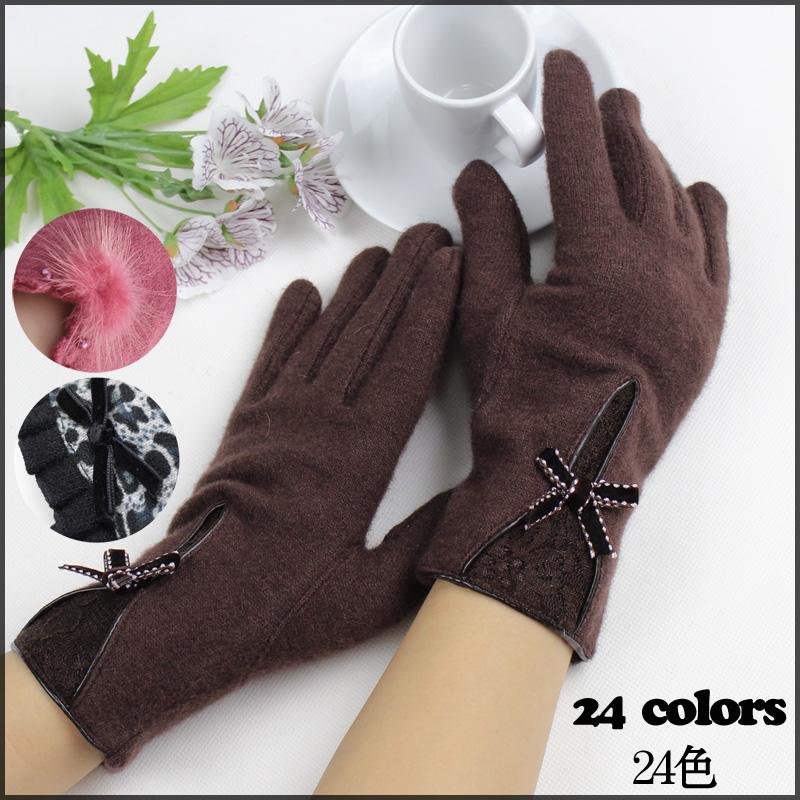 Braim women's wool gloves winter cashmere gloves thin rabbit short design lace leopard print(China (Mainland))