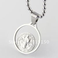 Free ship! 4.5g Greece style Stainless Steel silver round JESU Pendant,FASHION men's XMAS gifts