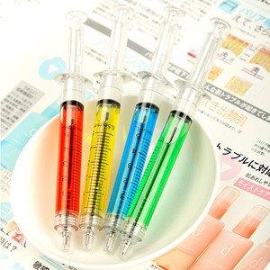 4 x Novelty Clickable Liquid Syringe Ballpen Injection Ballpoint Pen Stationery B629(China (Mainland))
