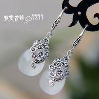 Silver jewelry LAOYINJIANG 925 pure silver earrings jewelry - eye stone vintage silver earrings