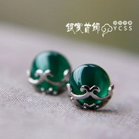 LAOYINJIANG jewelry vintage SILVER AGE accessories agate anti-allergic 925 pure silver stud earring