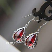 Free shipping 925 pure silver earrings garnet vintage