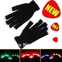Novelty 7 Mode LED Gloves Glove Rave Light Flashing Finger Lighting Dancing Glow Mittens Magic