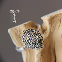 Elegant marcasite thai silver royal vintage 925 pure silver finger ring