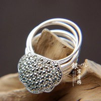 Freeshipping marcasite thai silver 925 pure silver  mysterious finger ring