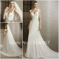 Concise Free Shipping White Chiffon Spaghetti Strap Long Dress Wedding