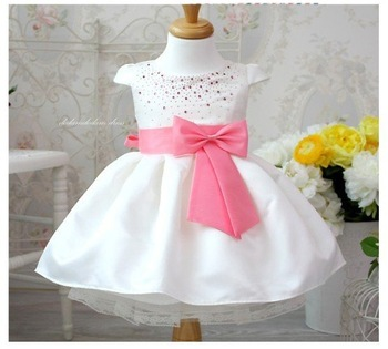 new free shipping 4pcs/1lot girls clothing beautiful Princess dress girls pink belt dress New Year's clothes dresses