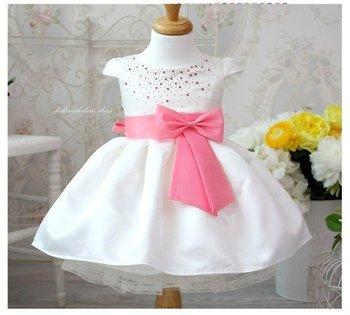 new free shipping 4pcs/1lot girls clothing beautiful Princess dress girls pink belt dress New Year's clothes dresses
