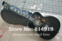 black SJ200 Acoustic guitar with Fishman presys Pickups Acoustic electric Guitar