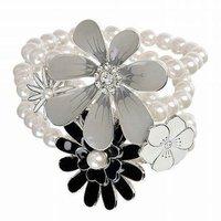 Charming Big Enamal flower three layer pearl Elastic chains Women Strand bracelets Free shipping Shopping festival  SL5006
