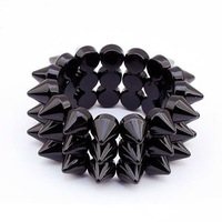 Punk Black CCB Rivet wide bangle bracelets for lady woman  Free shipping Min order 10USD+gift  SL5024