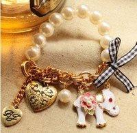 Fashion BG elephant pearl Black/White gold women charm bracelets Free shipping Shopping festival B004J