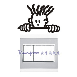 Ranpoo wall stickers - wall stickers socket paste switch stickers broom head(China (Mainland))