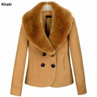 2012 women fashion winter overcoat ladies short jacket faux fur collar double breasted xxxl free shipping WC0952