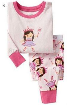 FREE SHIPPING--girls autumn winter pajamas sets long sleeve 2pcs set  t-shirts+pants cartoon princess girls designs 1set/lot