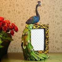 Free shipping wholesale & retail new Sri Lanka style colorful resin peacocks desk craft decoration with photo frame