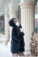 Hot Sale! 2011 sz winter faux rabbit fur women's cap fashion long outerwear overcoat FREE SHIPPING