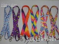 Free Shipping  Rainbow Star printed Heart-shaped  key lanyard  mobile neck strap  Mix order 90pcs/lot
