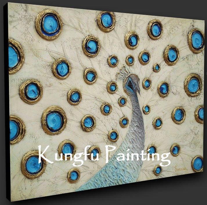 a mão de 100% pintou a parede textured pesada moderna da decoração do repouso da alta qualidade da pintura a óleo da faca de paleta da pintura do pavão da lona do disconto