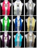 2013  MIXED design necklace scarves with alloy pendant womens fashion ployester scarf mixed colors 60pcs