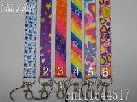 Free Shipping  Rainbow Heart-shaped  key lanyard  lots for ID Badge Holders Mix order