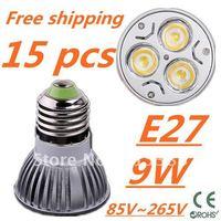 15pcs/lot Free DHL and FEDEX express CREE LED High power E27 Base 3x3W 9W led Light led Lamp led Downlight led bulb spotlight