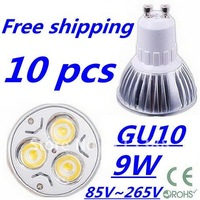 10pcs/lot Free DHL and FEDEX express CREE High power GU10 3x3W 9W 85V~265V led Light Lamp Downlight led bulb spotlight