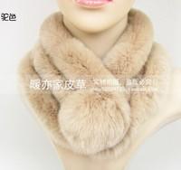 Rex rabbit hair full leather muffler scarf  fur muffler 121110-2