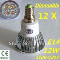 12pcs/lot Free DHL and FEDEX express Dimmable LED High power E14 4x3W 12W led Light led Lamp led Downlight led bulb spotlight