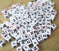 Free Shipping!Wholesale 500Pcs/Lot Single Alphabet /Letter N Acrylic Cube Beads,DIY Beads 6x6mm 621
