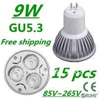 15pcs/lot Free DHL and FEDEX express CREE High power GU5.3 3x3W 9W 85V~265V led Light Lamp Downlight led bulb spotlight