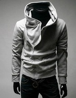 Free shipping 2012 new style Men fashion casual hoodies Oblique zipper cardigan Jacket coat M L XL XXL
